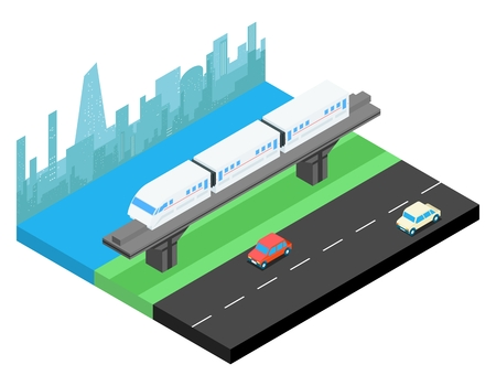 railway transportation: Sky train and city skyline isometric. Railway transportation, railroad urban, vector illustration