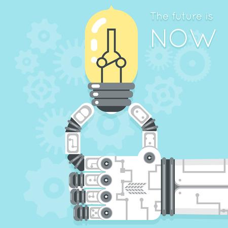 electricidad industrial: El futuro es ahora. mano de robot que sostiene la bombilla. la creatividad electricidad, la innovaci�n de equipos, ilustraci�n vectorial Vectores