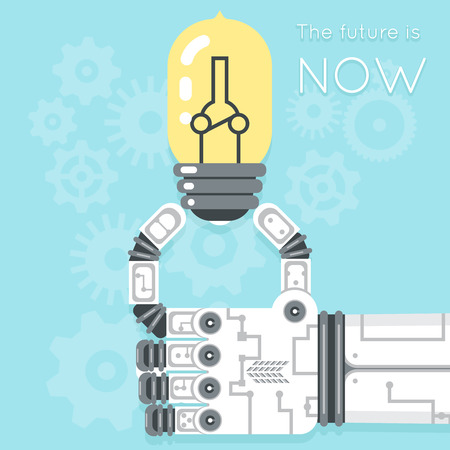 industrial equipment: Future is now. Robot hand holding light bulb. Electricity creativity, equipment innovation, vector illustration
