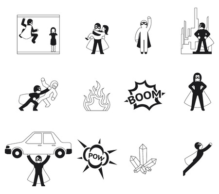 heroes: Superhero vector elements and logo set. Super human special power icons
