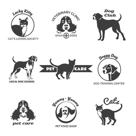 cat: Pet club, dog center, veterinary clinic logos, emblems and badges vector set. Puppy and label cat illustration