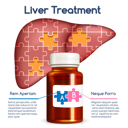 Liver treatment concept. Medical health human, bottle and puzzle, medicine and organ, vector illustration