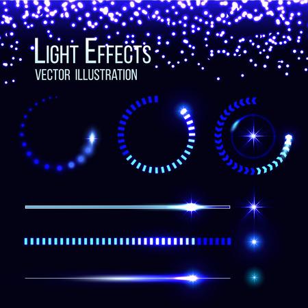 Glowing preloaders and progress bars vector set. Web design, interface loader, upload illustration Illustration