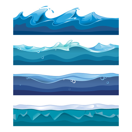 flowing river: Seamless ocean, sea, water waves vector backgrounds set for ui game in cartoon design style. Nature interface graphic curve storm flow illustration