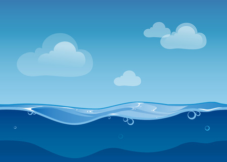 cielo y mar: El agua del océano cielo paisaje sin fisuras y las nubes. Diseño de juegos de dibujos animados. Azul Naturaleza mar onda, ilustración vectorial