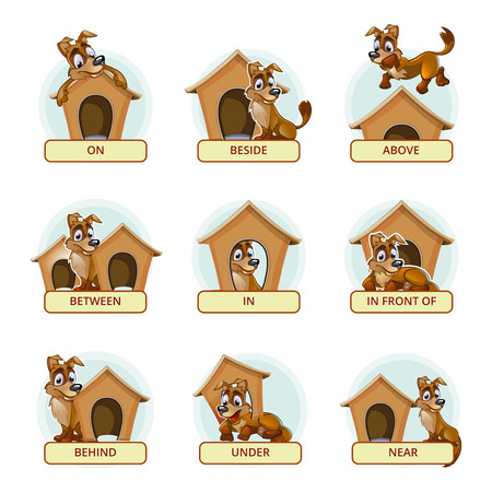 Cartoon dog in different poses to illustrate English prepositions of place. Vector illustration for preschool kids. Animal pet, booth and domestic, place and mammal breed illustration Vettoriali