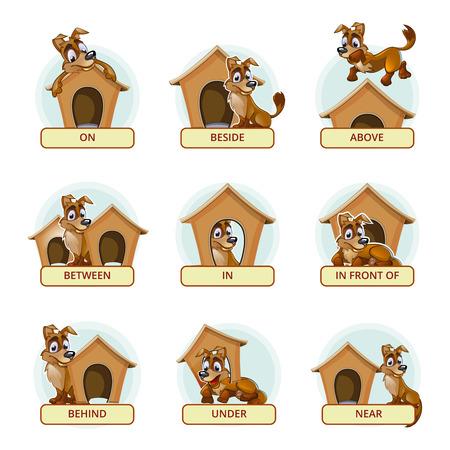 Chien de bande dessinée dans des poses différentes pour illustrer les prépositions anglaises de lieu. Vector illustration pour enfants d'âge préscolaire. Animal animal, stand et domestique, le lieu et mammifère race illustration