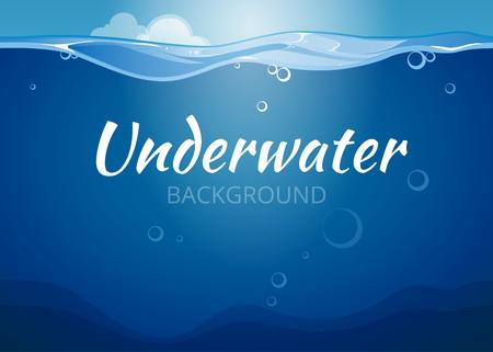 olas de mar: Vector de fondo bajo el agua en estilo cómic. El agua de mar, ilustración ola océano
