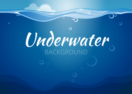 Underwater vector background in comic book style. Sea water,  nature ocean wave illustration Vettoriali