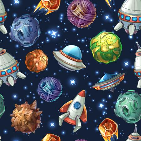 mosca caricatura: Espacio cómico con planetas y naves espaciales. De dibujos animados de cohetes, estrellas y diseño de la ciencia. Modelo inconsútil del vector