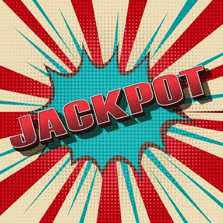 lottery win: Jackpot comic retro background. Gambling game winner, vintage design. Vector illustration