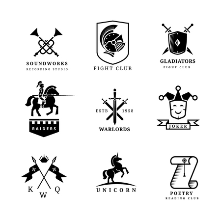 cavaliere medievale: Vintage badge spada o etichette e set di icone. Elementi di araldica. Simbolo cavaliere cavaliere, disegno emblema. Illustrazione vettoriale
