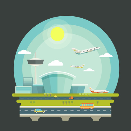 aeroplano: Aeroporto con aerei o velivoli in stile design piatto. Trasporto aereo concetto di fondo. Terminale e trasporto aereo, illustrazione vettoriale viaggio Vettoriali