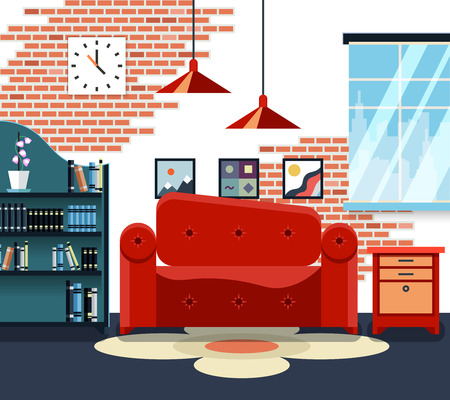 furniture: Living room with furniture and long shadows. Design decoration, lamp and sofa. Vector illustration Illustration