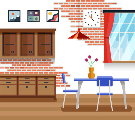 decoration style: Dining room with furniture in flat vector style. Interior design, table and decoration picture illustration Illustration
