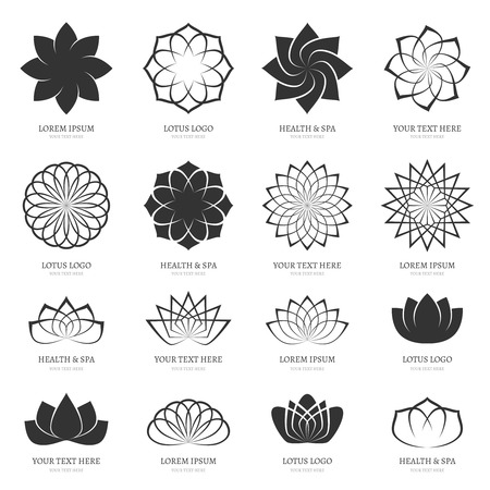 beauty icon: Abstract vector lotus flowers for spa, yoga class, hotel icons. Blossom petal, harmony design, icon sign floral beauty illustration Illustration