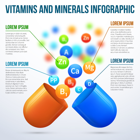 vitamins: Medical vitamins and minerals vector infographics. Health poster, medical banner, information medicine illustration