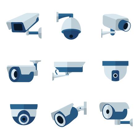 Macchina fotografica: Sicurezza fotocamera, impostare CCTV icone piane. Sorveglianza privato protezione, sicurezza e guardando, illustrazione vettoriale
