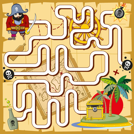logic: Pirate maze, labyrinth game for preschool children. Play and treasure, map and quiz, search logic. Vector illustration