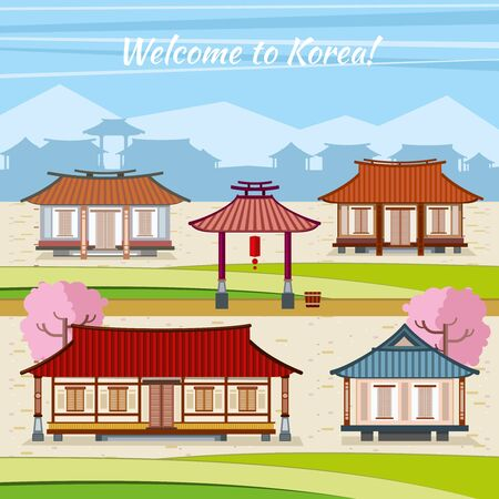 korean traditional: Old Korean town with traditional houses. Vector background in flat design style. Home with arch, invitation asia, village or city oriental, east culture traditional Illustration