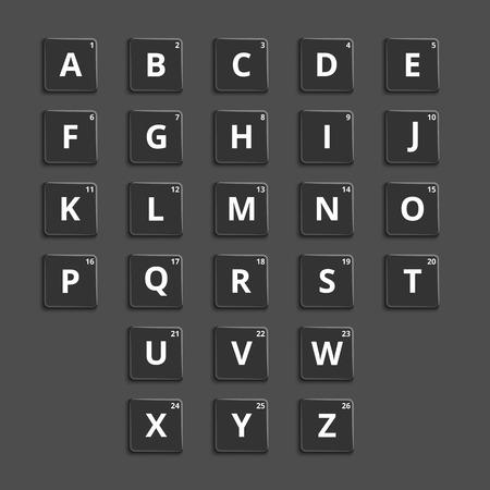 puzzling: Alphabet plastic tiles for puzzling words games. Puzzle element, graphic button. Vector illustration