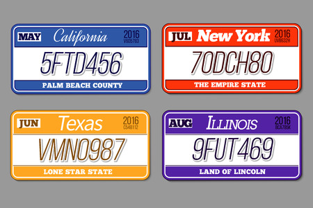 car plate: License car number plates set. California and New York, Texas and Illinois. Auto registration for transportation, vector illustration