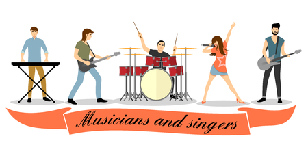 Musicians and singers vector set. Rock band concert, group performance, guitar bass, microphone and vocalist illustration