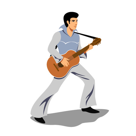 guy playing guitar: Musician artist like Elvis Presley with a guitar. Artist and instrument, rock and sound, musical string, guitarist concert, performer and entertainment. Vector illustration