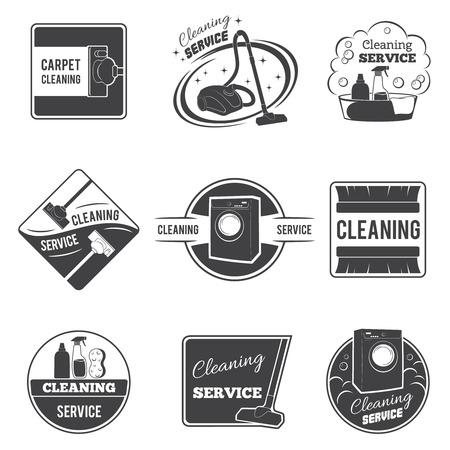 servicio domestico: Iconos del servicio de limpieza de la vendimia y emblemas, etiquetas fijadas. Vacío y herramienta doméstica, ilustración vectorial