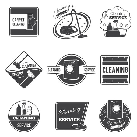 Vintage cleaning service icons and emblems, labels set. Vacuum and domestic tool, vector illustration