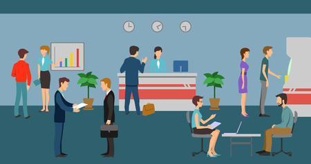office manager: Bank staff and clients in bank office interior. Finance management concept flat design. Business and queue, workplace and discuss, atm and working manager, vector illustration