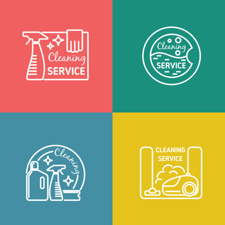 cleaning services: Cleaning service labels in linear design style. Vacuum and domestic tool, sanitation work, vector illustration Illustration