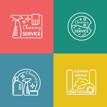 servicio domestico: Limpieza de las etiquetas de servicio en el estilo de diseño lineal. Vacío y herramienta doméstica, obras de saneamiento, ilustración vectorial Vectores