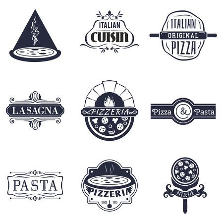 comida italiana: italiano retro etiquetas de cocina en restaurantes, icono y emblemas de vectores. Alimentos y la cocina, la pizza etiqueta de signo y la ilustración lasaña de pasta