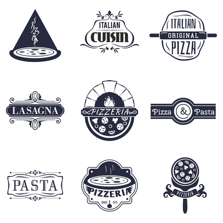 restaurant sign: Retro italian cuisine restaurant labels, icon and emblems vector set. Food and cuisine, sign and label pizza lasagna pasta illustration Illustration