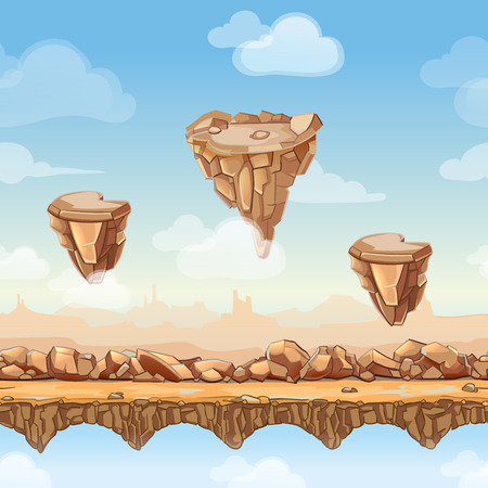 layers levels: Seamless cartoon landscape nature with stones, rocks and bridges, game design. Interface level ui. Vector illustration separate layers