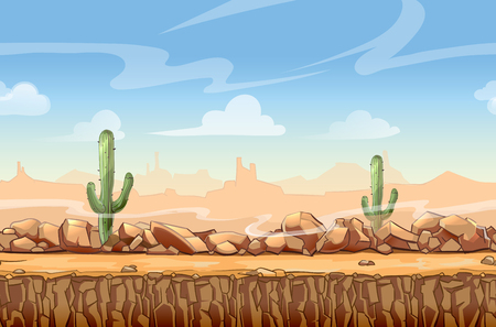 Wild West desert landscape cartoon seamless background for game. Cactus and nature, interface vector illustration Çizim