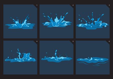 青い水が跳ねるゲーム アニメーションの設定ベクトル フレーム。イラストをはねかける順序モーション  イラスト・ベクター素材