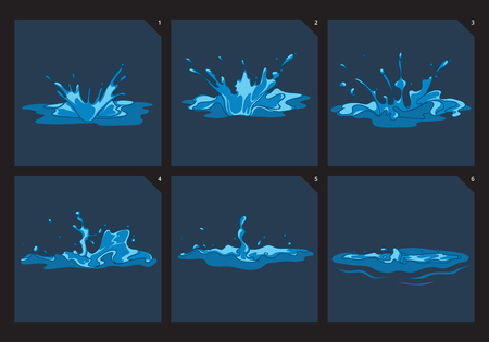 Blue water splashes vector frame set for game animation. Order motion splashing illustration Çizim