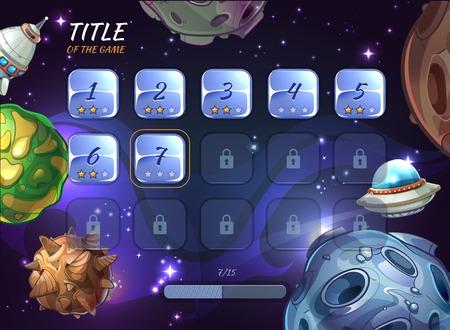 Cartoon ruimte vector achtergrond voor UI spel. Button gebruiker app, universum en asteroïde, rocketship en krater of ufo illustratie verkennen