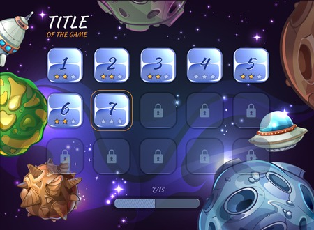 levels: Cartoon space vector background for UI game. Button user app, universe and asteroid, rocketship and explore crater or ufo illustration