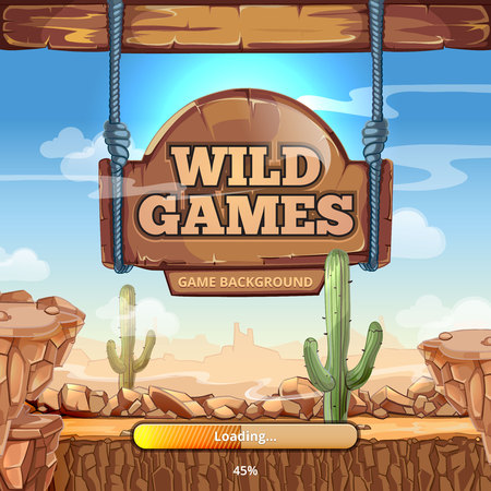 games: Loading screen with title for  Wild West game. Desert and mountains, cactus and stone, signpost vector illustration