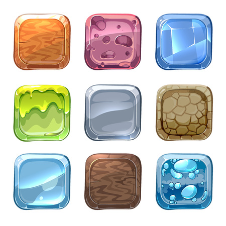 a material: App vector icons with different textures in cartoon style. Ui stone, web design nature, wood material illustration