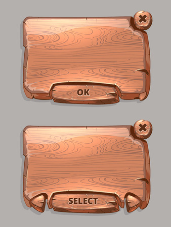 ok button: Vector wooden panels for game UI cartoon style. Texture interface, select and ok button illustration