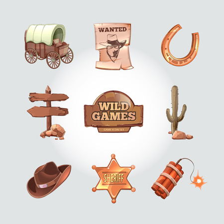 wild: Icons for Wild West computer game. Cowboy objects cartoon design style. Western american art, police and dynamite, cactus and horseshoe. Vector illustration