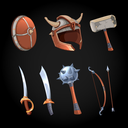 scimitar: Cartoon fantasy weapons vector icons set. Mace and power dagger, ancient collection illustration Illustration