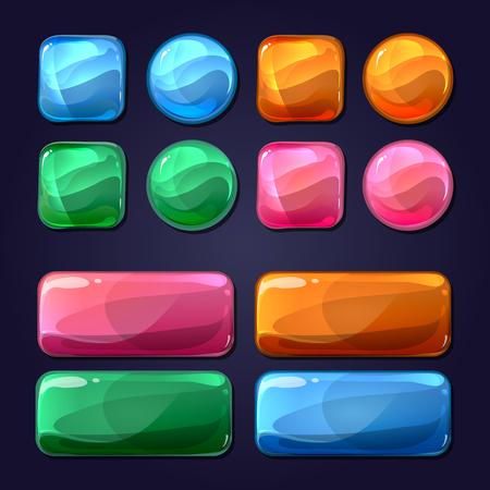 ベクトル漫画ガラス ボタン ゲーム ユーザー インターフェイス UI について。デザイン光沢、光沢のある要素図ラウンド 写真素材 - 47419540