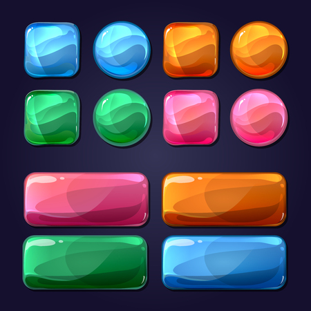 Vector cartoon glass buttons for game user interface UI. Design glossy, round shiny element illustration