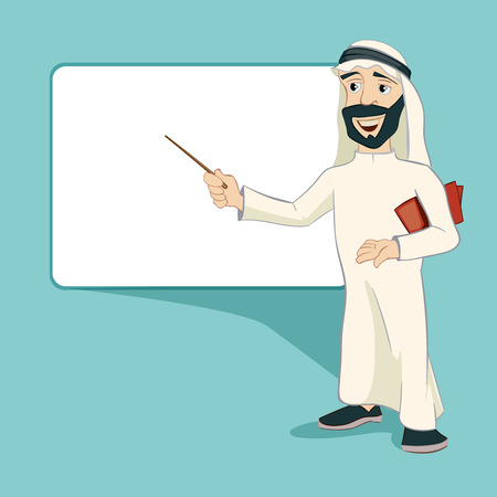 horizontally: Arab businessman stand at blank white board. Cartoon character. Muslim man, expression person, horizontally placard, vector illustration
