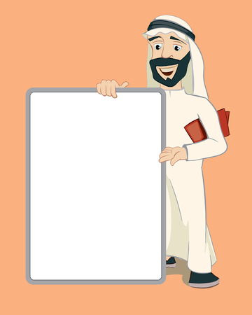 white person: Arab businessman holding upright empty white banner. Cartoon character. Person islam, notice and business, vector illustration